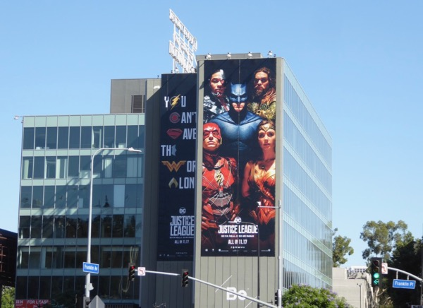 Giant Justice League film billboard