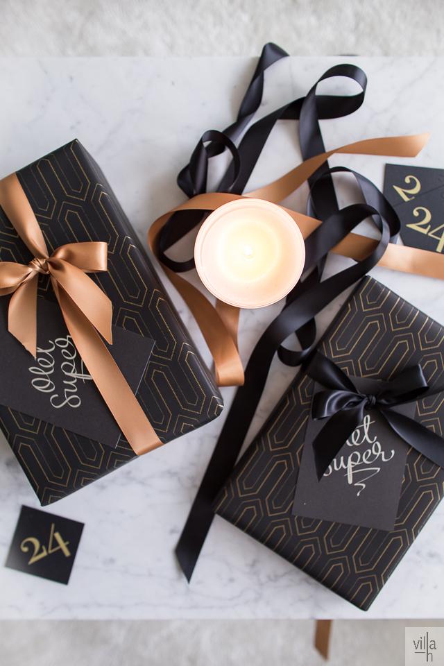 paketointi, kulta ja musta, joulu, ideoita jouluun