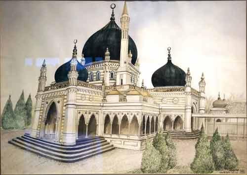 20 Contoh Gambar Lukisan Masjid Terindah Karya Seniman
