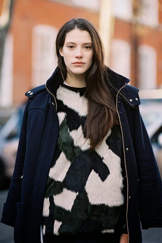 Carla Ciffoni Layers In Fall Knitwear For Elle Uk By: Vanessa Jackman: London Fashion Week AW 2014....Carla