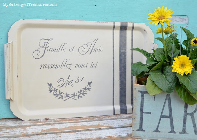 Family and Friends gather here painted stenciled tray
