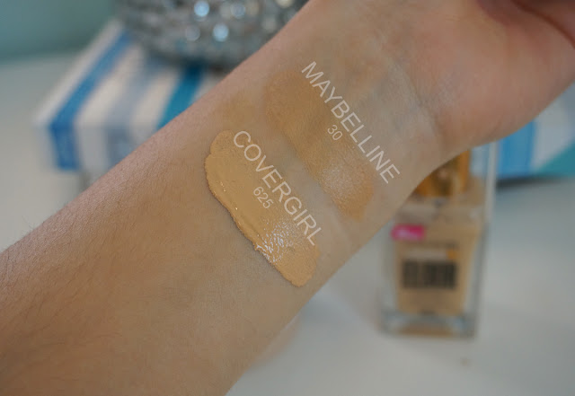 Maybelline dream cushion shade 30 and Covergirl vitalist foundation shade 625 swatches