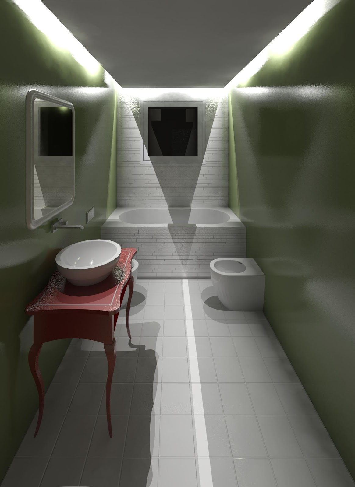 Geometra progetto di un bagno bagno con rivestimento in - Resina per pareti bagno ...