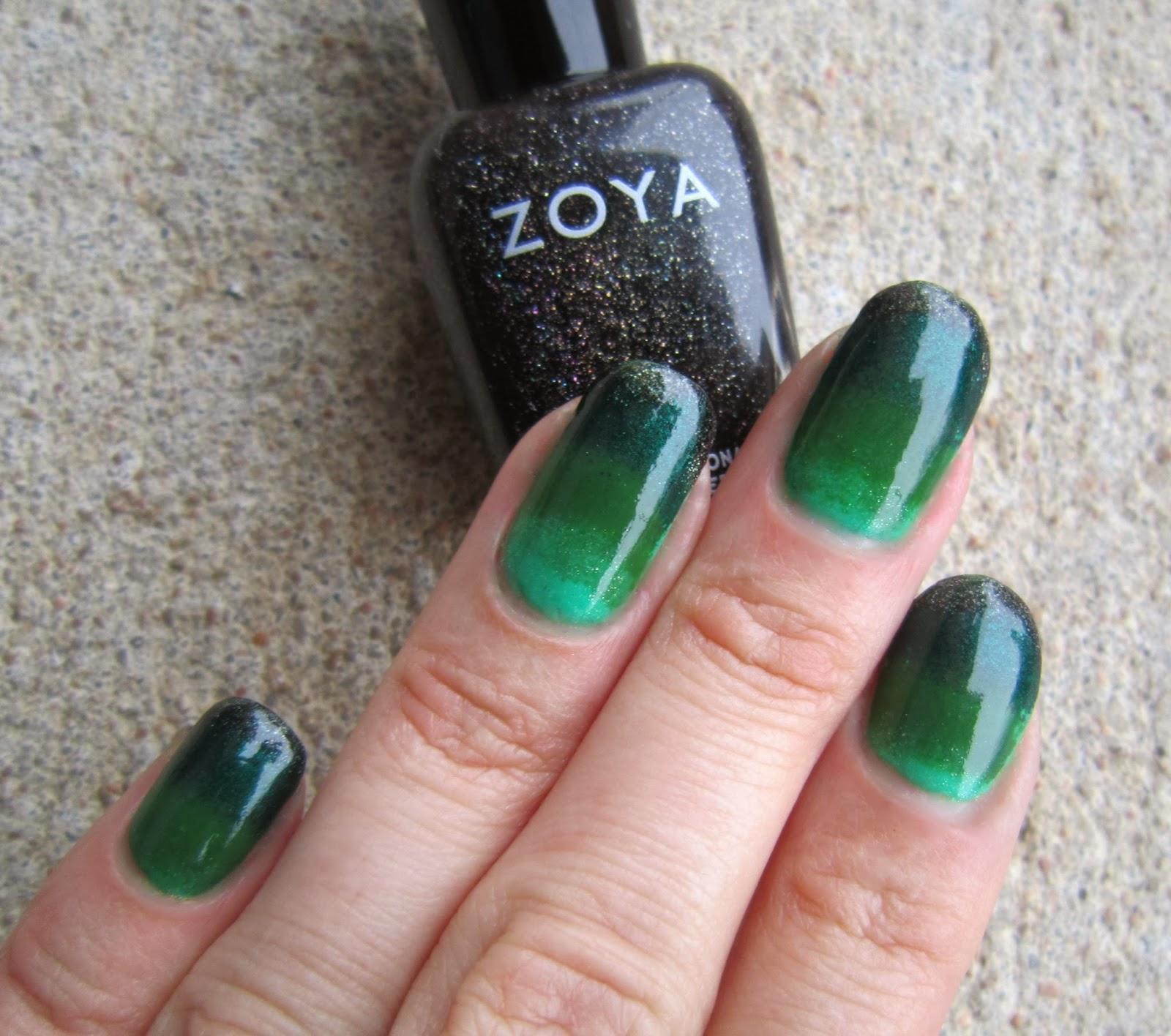 Concrete And Nail Polish Striped Nail Art: Concrete And Nail Polish: Green Gradient Nails