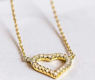 Benevolence LA Necklaces for Women Heart Pendant: Dainty CZ Diamond Shaped Cubic Zirconia Stones 14k Gold Dipped Gold Jewelry for Women Teen Girls