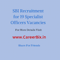 SBI Recruitment for 19 Specialist Officers Vacancies