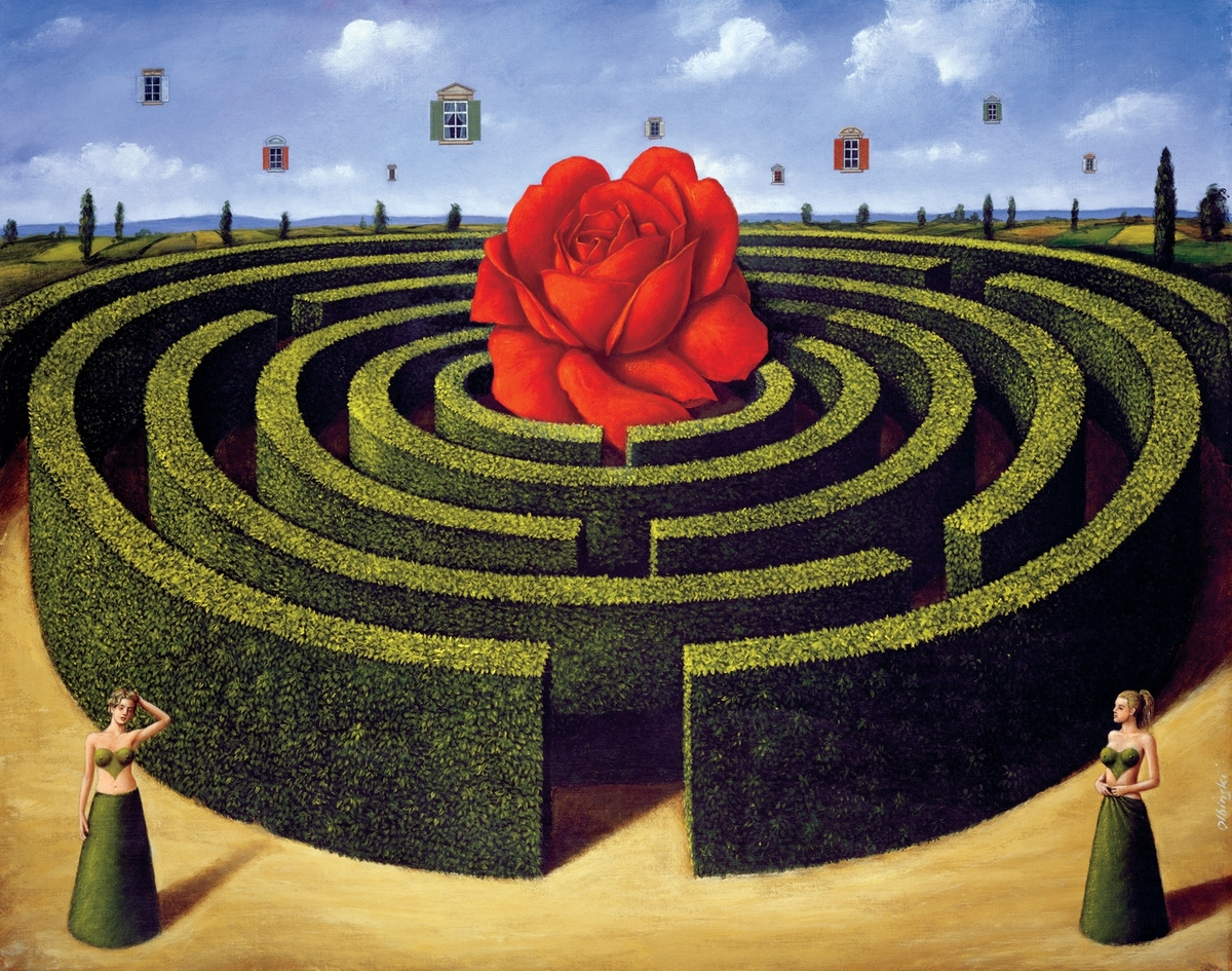 04-Maze-Rafal-Olbinski-Surreal-Paintings-that-Whisper-a-Message-www-designstack-co