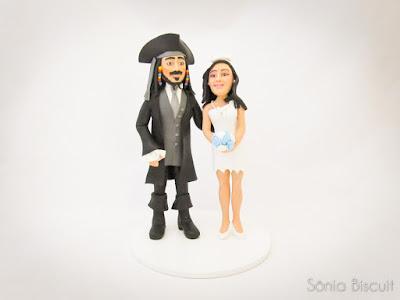 Topo de Bolo Casamento Noivinhos Jack Sparrow Pedrita