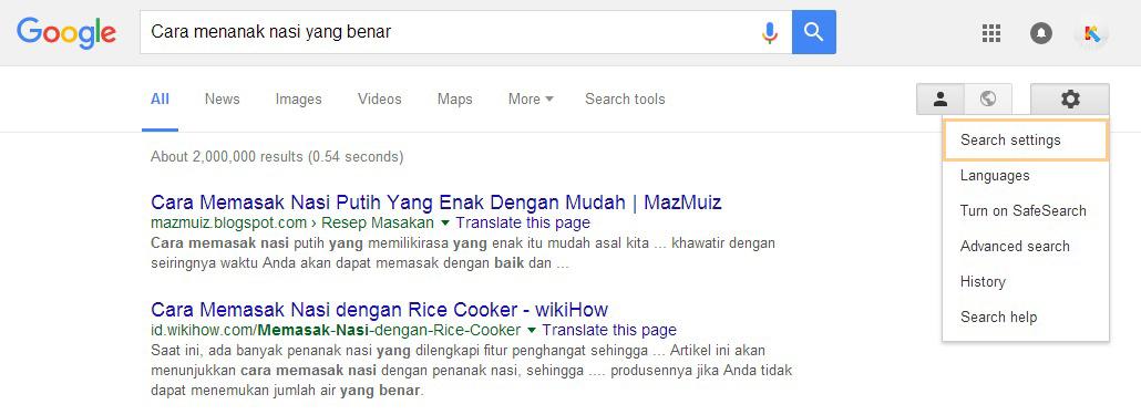 search setting