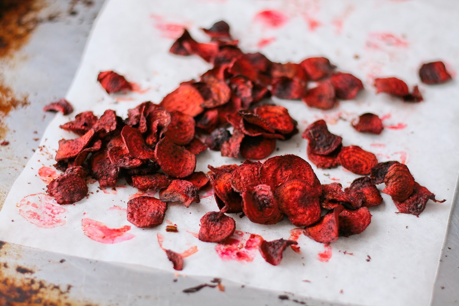 Beetroot crisps on a tray.