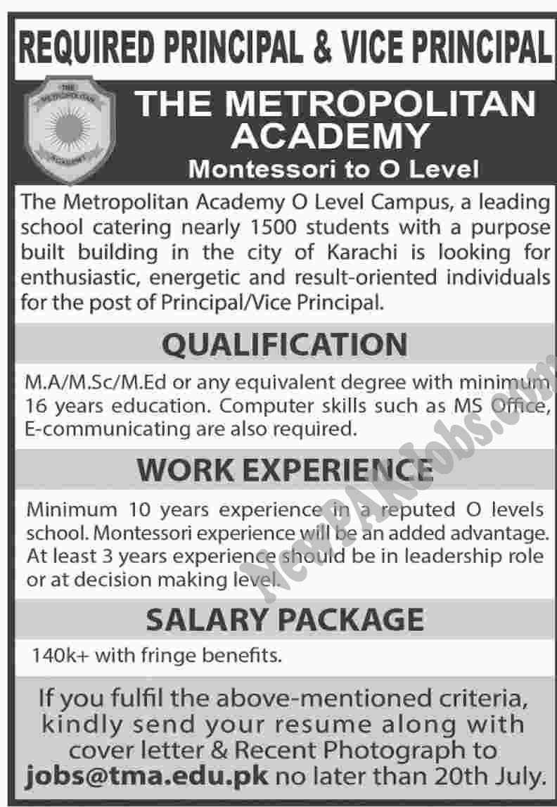 The Metropolitan Academy Latest Jobs