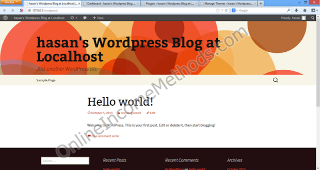 Wordpress Localhost Blog HomePage Preview