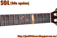 SOL = G acorde de guitarra mayores 2da posición