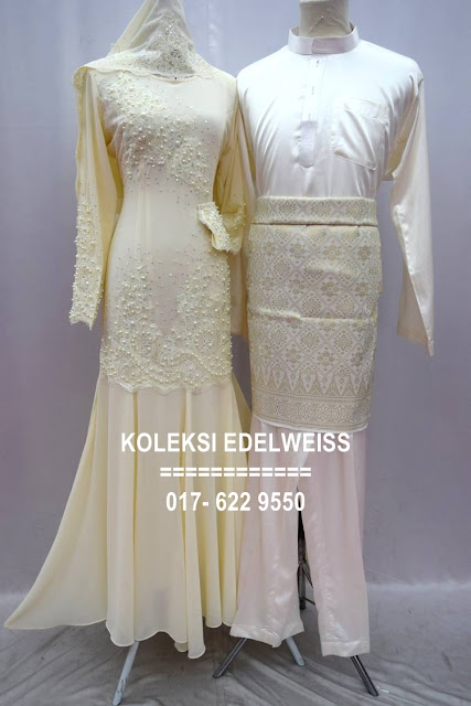 Set Dress Nikah Cream Sedondon Muslimah  2016