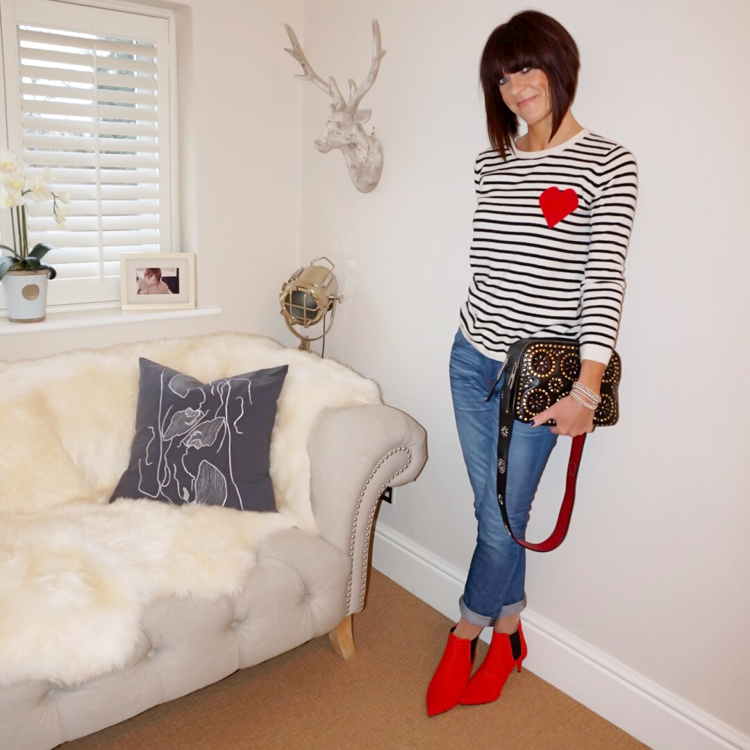 my midlife fashion, j crew boyfriend jeans, village england penshaw bag, chinti and parker navy heart breton cashmere jumper, marks and spencer pointed kitten heel ankle boots