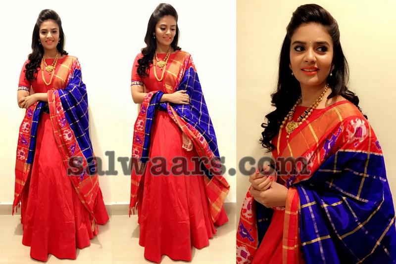 Sreemukhi Red Floor Length Salwar - Indian Dresses
