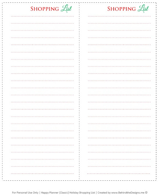 Happy Planner Holiday Shopping List Insert -Free Planner Printable