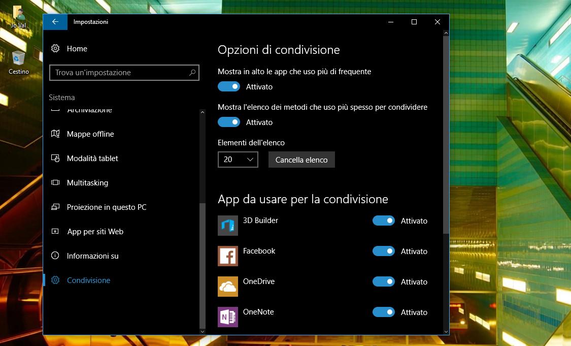"""Come abilitare l'opzione nascosta """"Condivisione"""" nelle Impostazioni di Windows 10 HTnovo 4"""