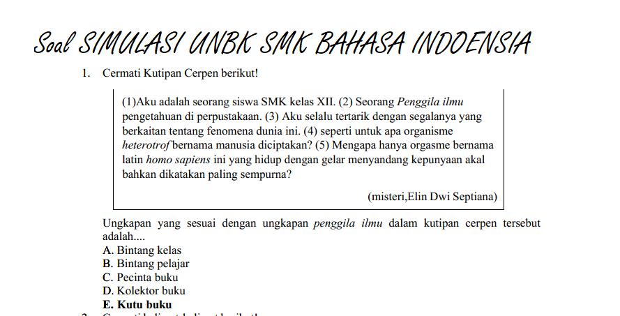 Contoh Soal Jawaban Bahasa Indonesia Unbk Kelas 12 Smk Erlanggaputra