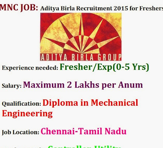 Aditya Birla Recruitment 2015 for Freshers