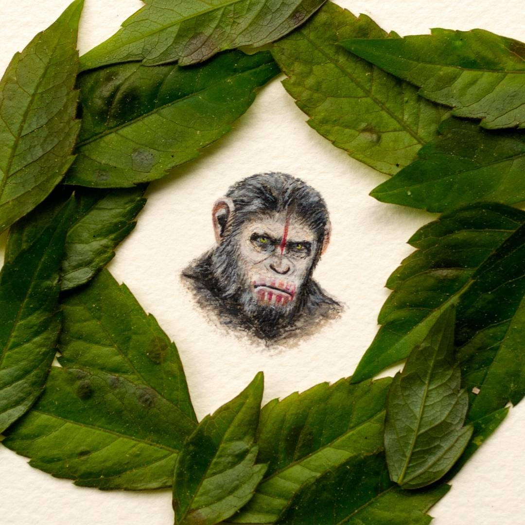06-Caesar-Planet-of-the-Apes-Rachel-Beltz-Creative-Miniature-Paintings-www-designstack-co