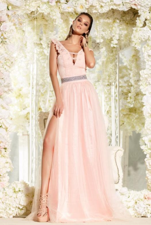 Rochie deosebita de seara, lunga, in nuante de roz, cu tul si dantela brodata