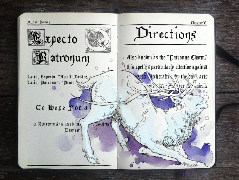 04-Expecto-Patronum-Gabriel-Picolo-kun-Harry-Potter-Moleskine-Drawings-of-Wizard-Spells-www-designstack-co