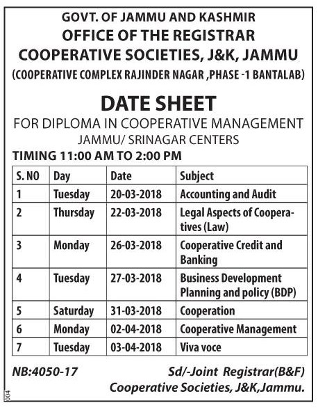 Date Sheet for Diploma in Cooperative Management
