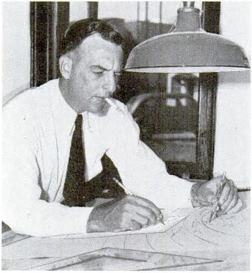 Author Leland Jamieson plotting story on a map (Attack! in the Saturday Evening Post)