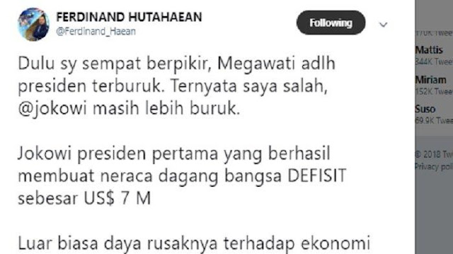 Sempat Berpikir Megawati adalah Presiden Terburuk, Ferdinand: Ternyata Jokowi Lebih Buruk