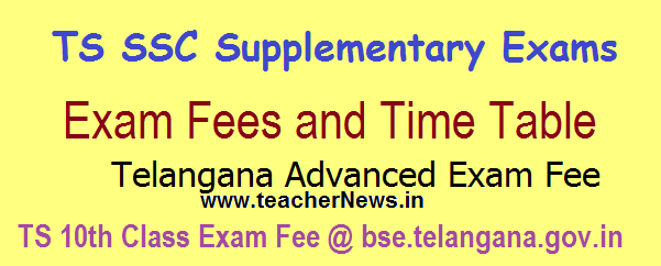 TS SSC Supplementary Exams Fee, Time Table 2017 Exam Dates @ bse.telangana.gov.in