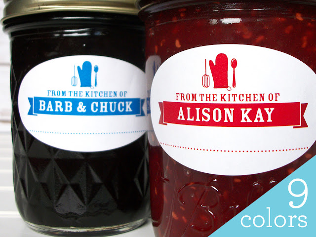 Custom Colorful Oval From the Kitchen mason jar labels