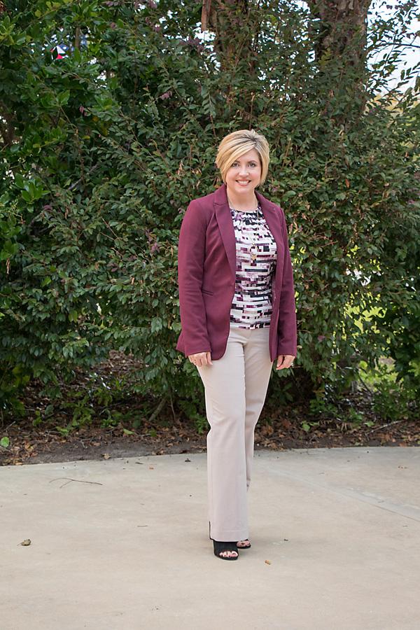 fall work wear, office attire, burgundy blazer outfit