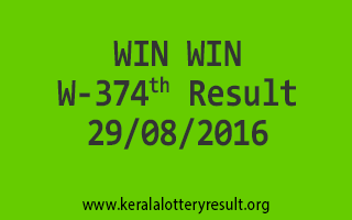 WIN WIN W 374 Lottery Result 29-08-2016