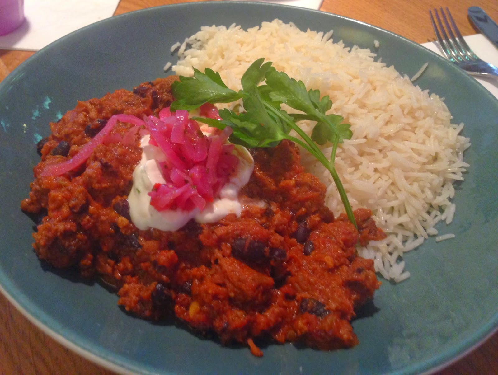 Chilli Con Carne from the Lunch Menu at Las Iguanas
