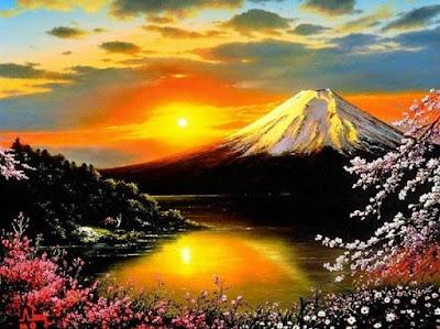 Gambar Terindah Pemandangan Alam Dunia Matahari Terbit di Negeri Sakura Jepang Gunung Fuji