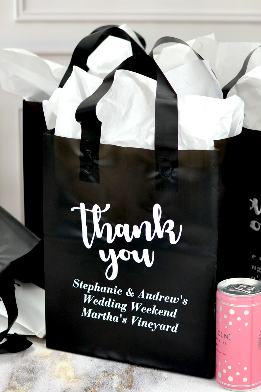 Black Wedding Guest Gift Bags with Thank You Message
