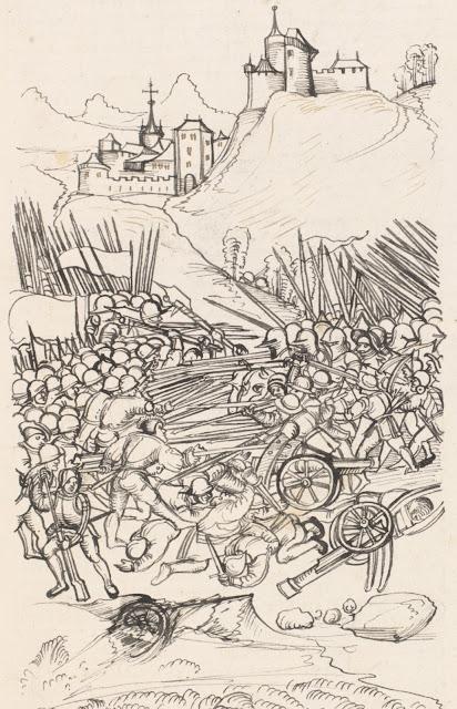 La bataille de Nancy  Enluminure tirée de la Chronique de Wernher Schodoler (1514-1532)