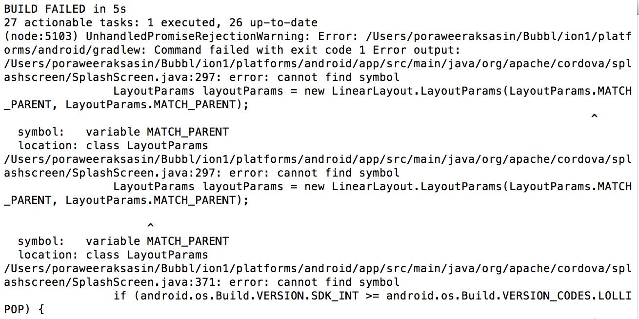 Ionic Cordova Build Failed Unhandledpromiserejectionwarning Error