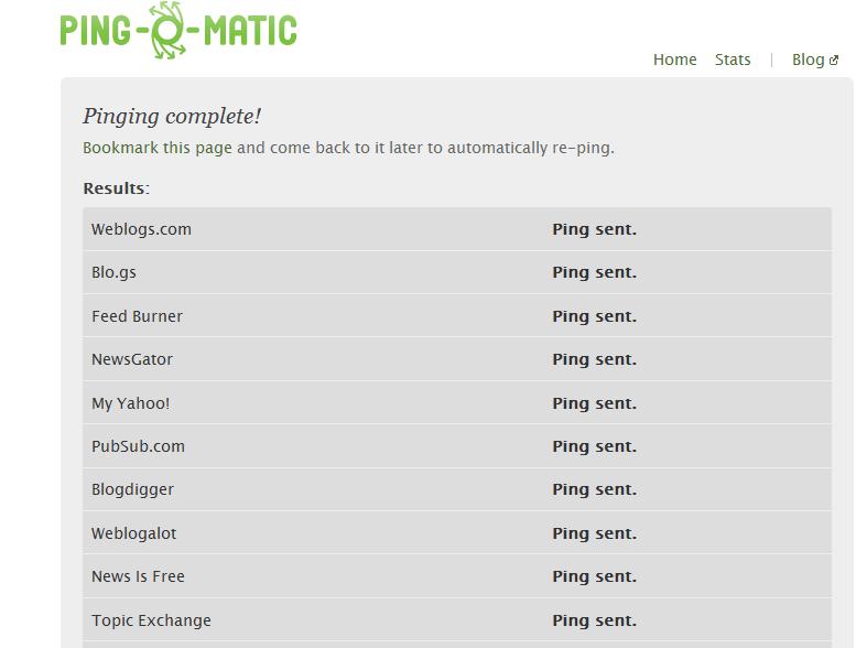 Cara Ping Blog Dengan Pingomatic
