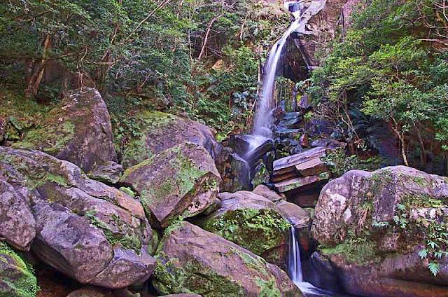 rocks, waterfall, vegetation