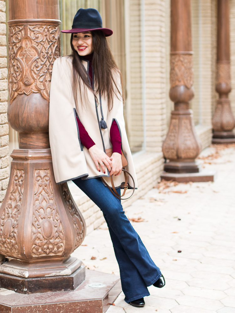 fashion blogger diyorasnotes cape asos burgundy casual outfit flared jeans