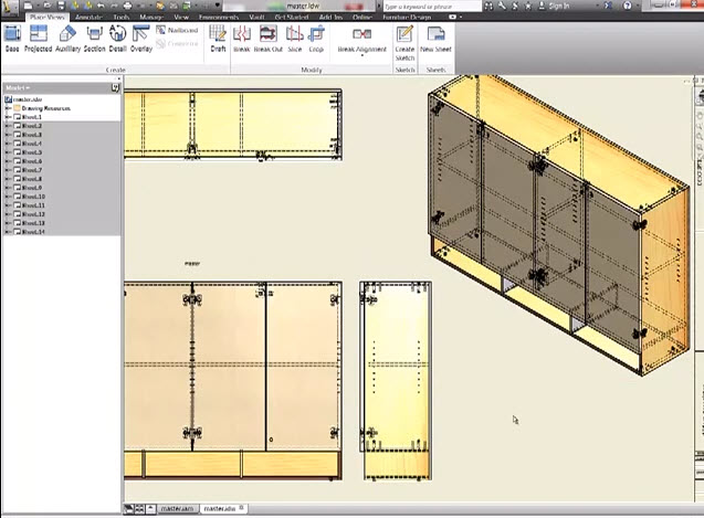 video tutorial drawings furniture wood cabinet with 3d