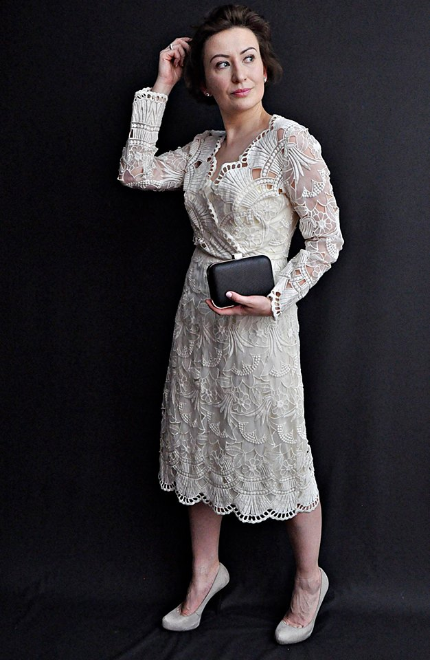 @adrianastyle_stylist, Cream Lace Dress, Fashion, Kobiecość, Kremowa Koronkowa Sukienka Vintage, moda, Retro Girl, Retro Style, Styl Retro, Stylizacja, Vintage Dress, www.adriana-style.com