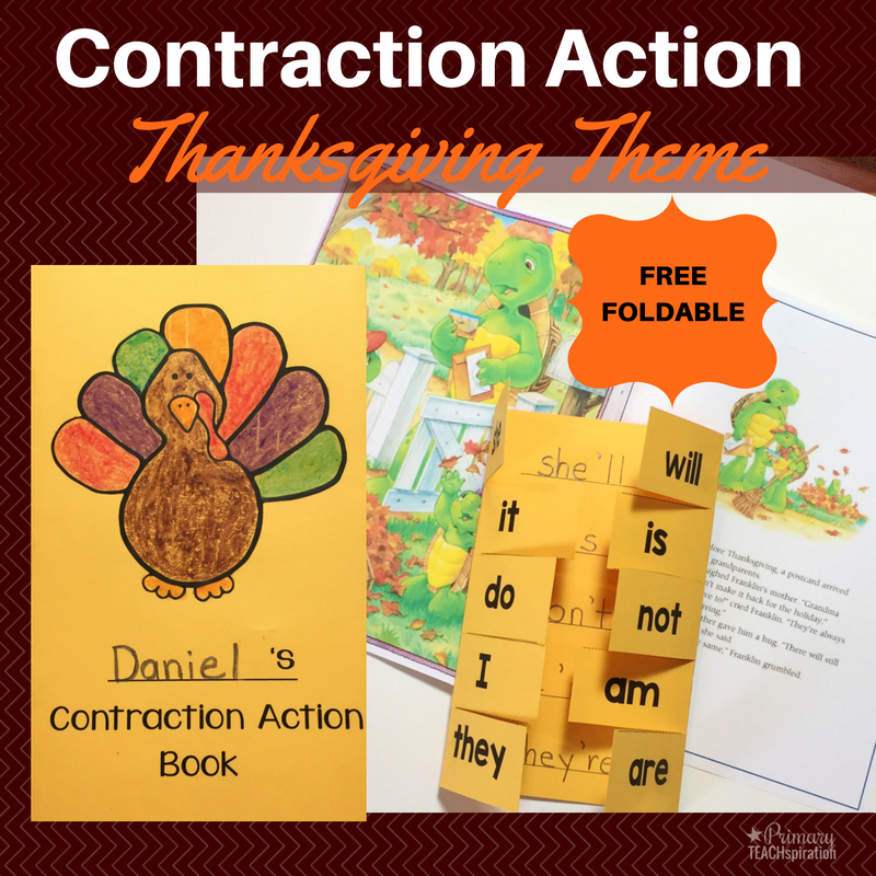 Grab a FREE template and see how I review contractions and other important skills in November with my students. We have fun with Thanksgiving-themed books, games, math & literacy reviews, and activities like this contraction foldable (free template). #contractions #teachingcontractions #contractionactivity