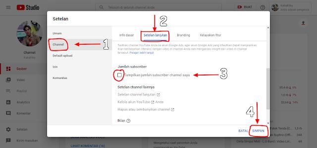 menyembunyikan subscribers youtube di dashboard terbaru