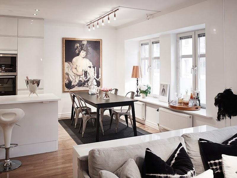Biały apartament z nowoczesną kuchnią i dodatkami glamour, wystrój wnętrz, wnętrza, urządzanie domu, dekoracje wnętrz, aranżacja wnętrz, inspiracje wnętrz,interior design , dom i wnętrze, aranżacja mieszkania, modne wnętrza, styl skandynawski, styl nowoczesny, glamour, białe wnętrza, biała kuchnia, nowoczesna kuchnia, projekt kuchni, jadalnia,