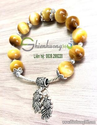 Vòng tay đá mắt hổ vàng bạc Thái 925