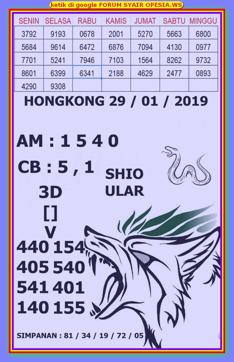 Kode syair Hongkong Rabu 29 Januari 2020 133