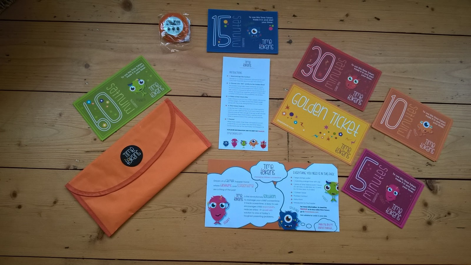 Contents of the Time Tokens Pack - Children's Product Reviews - motherdistracted.co.uk